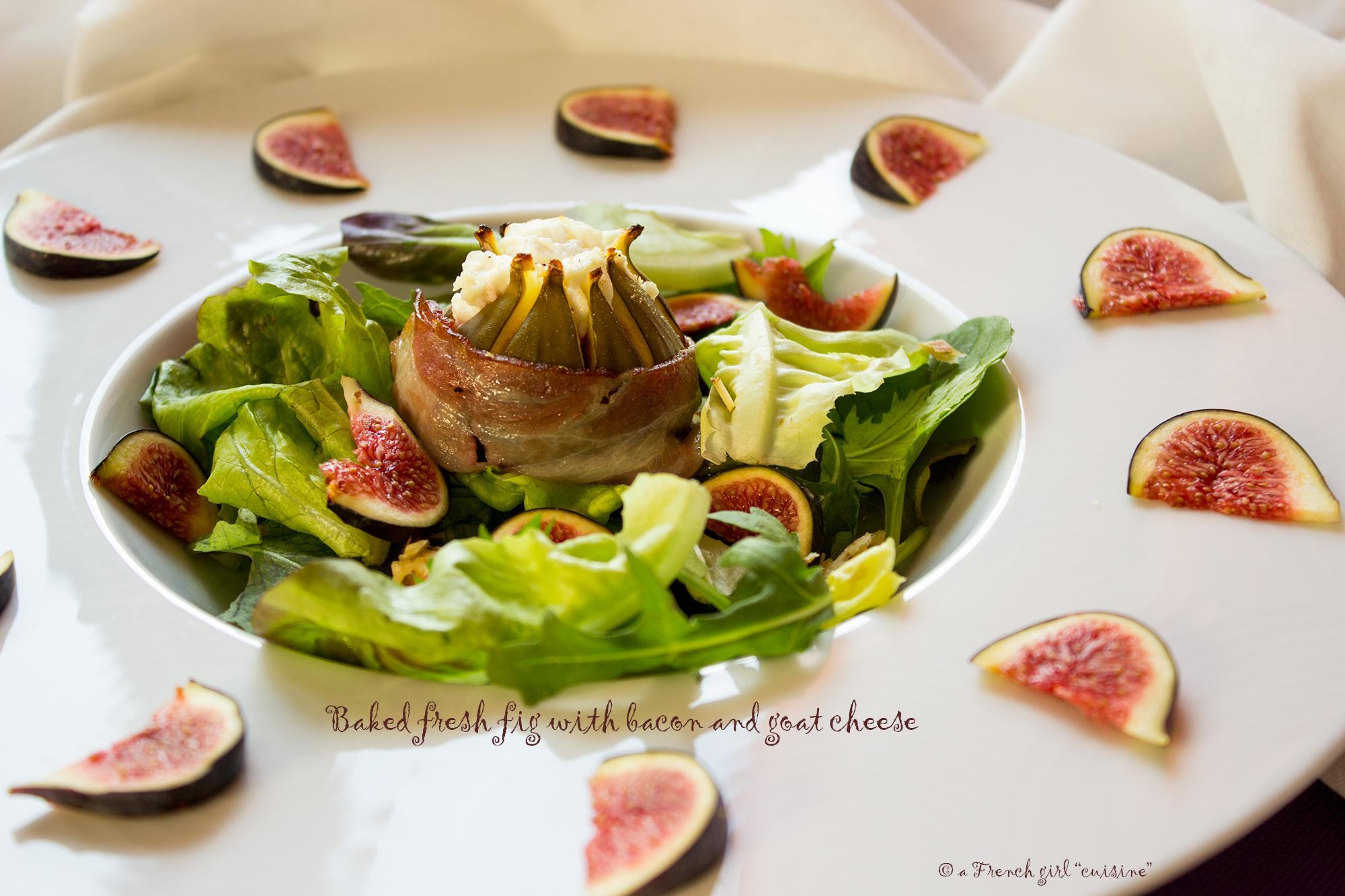 Baked fresh fig with bacon and goat cheese