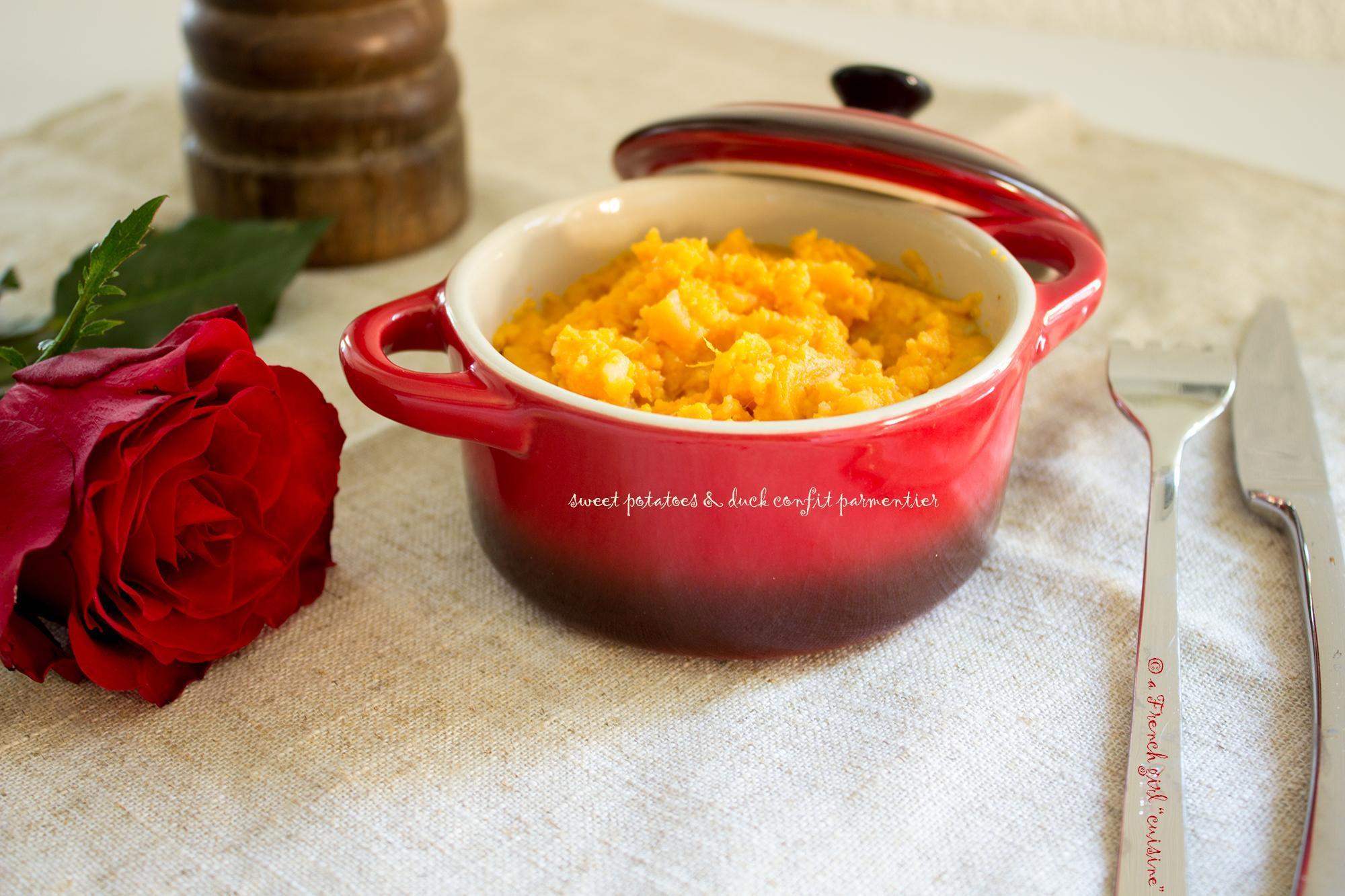 Sweet potato purée & duck confit parmentier