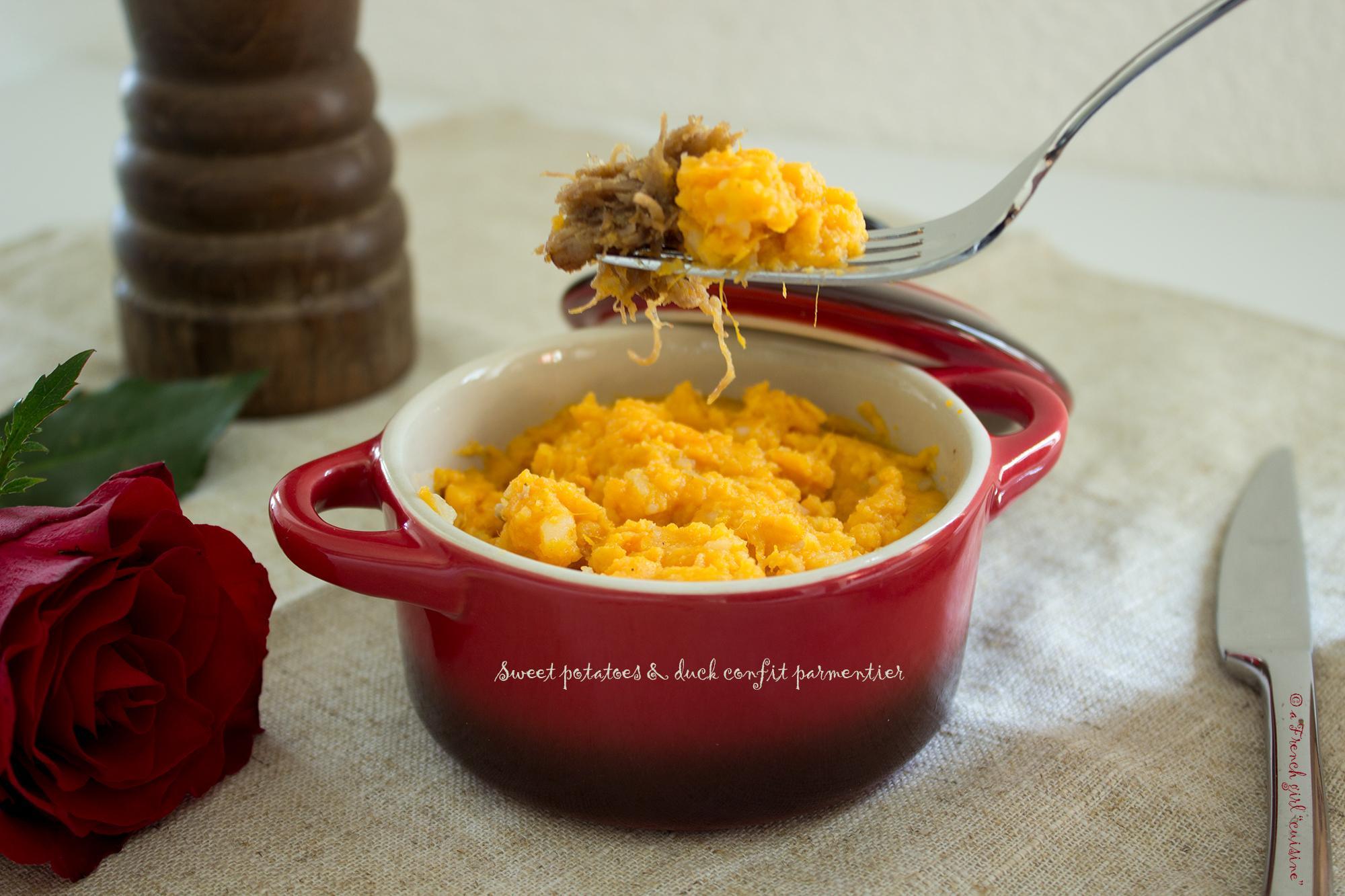 Sweet potatoes purée and duck confit parmentier