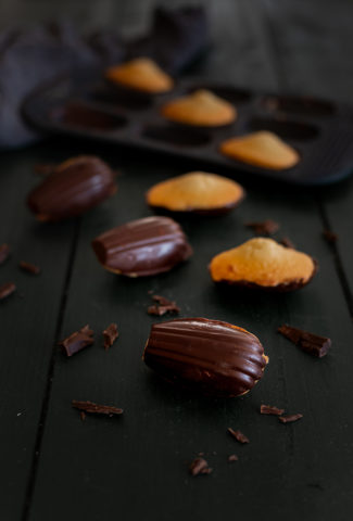Dark chocolate dipped madeleine recipe