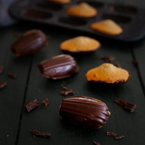Dark chocolate dipped madeleine recipe