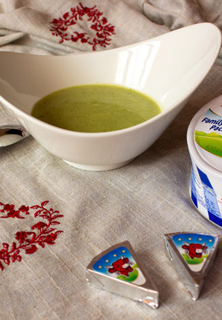 Zucchini and laughing cow cheese soup
