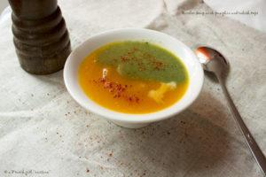 A bicolor Soup with Pumpkin and radish tops
