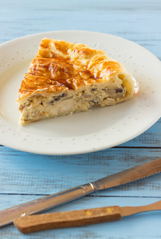 Chicken pie recipe with mushrooms and creamy mustard sauce