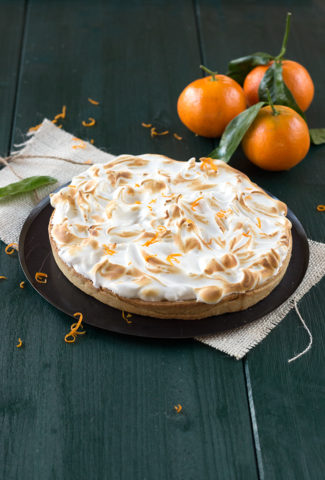 Clementine meringue pie with olive oil crust
