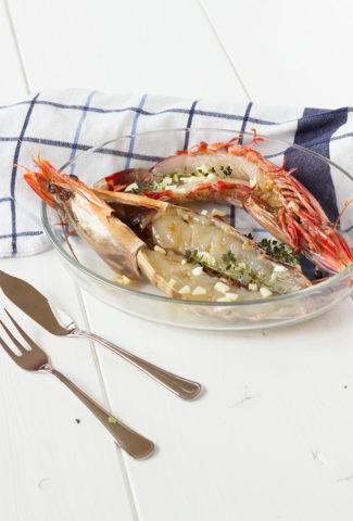 Crevettes géantes à l'ail et à l'huile d'olive cuites au four