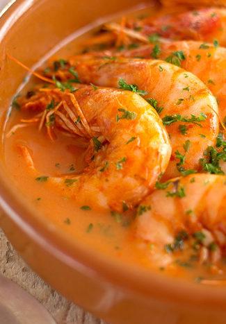 Crevettes, sauce à l'ail