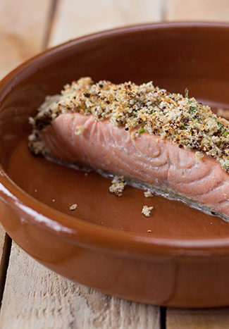 Crusted salmon with old style mustard and fresh tarragon