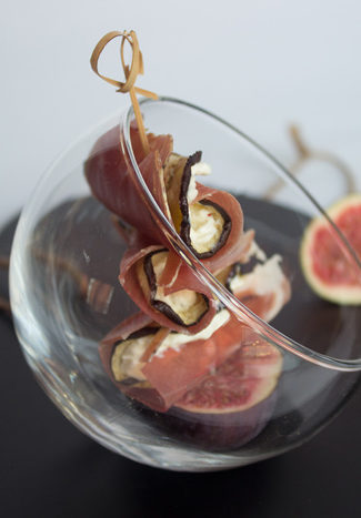 Cured ham rolls with eggplants verrine