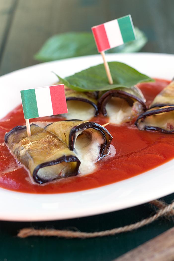 Eggplant Involtini with mozzarella and iberico ham
