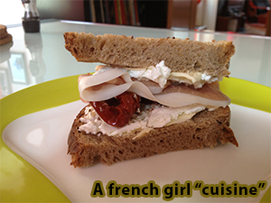 Goat cheese and cured ham sandwich