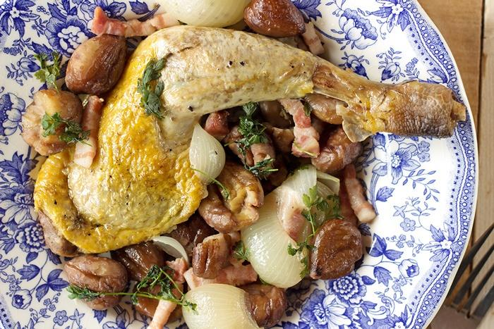 Guinea fowl legs recipe with chestnuts and onions