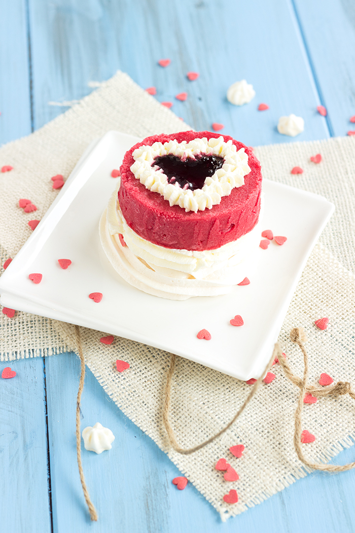 Individual raspberry vacherin recipe for Valentine's day