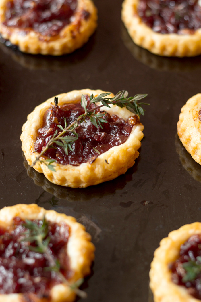 Onion confit tartlets