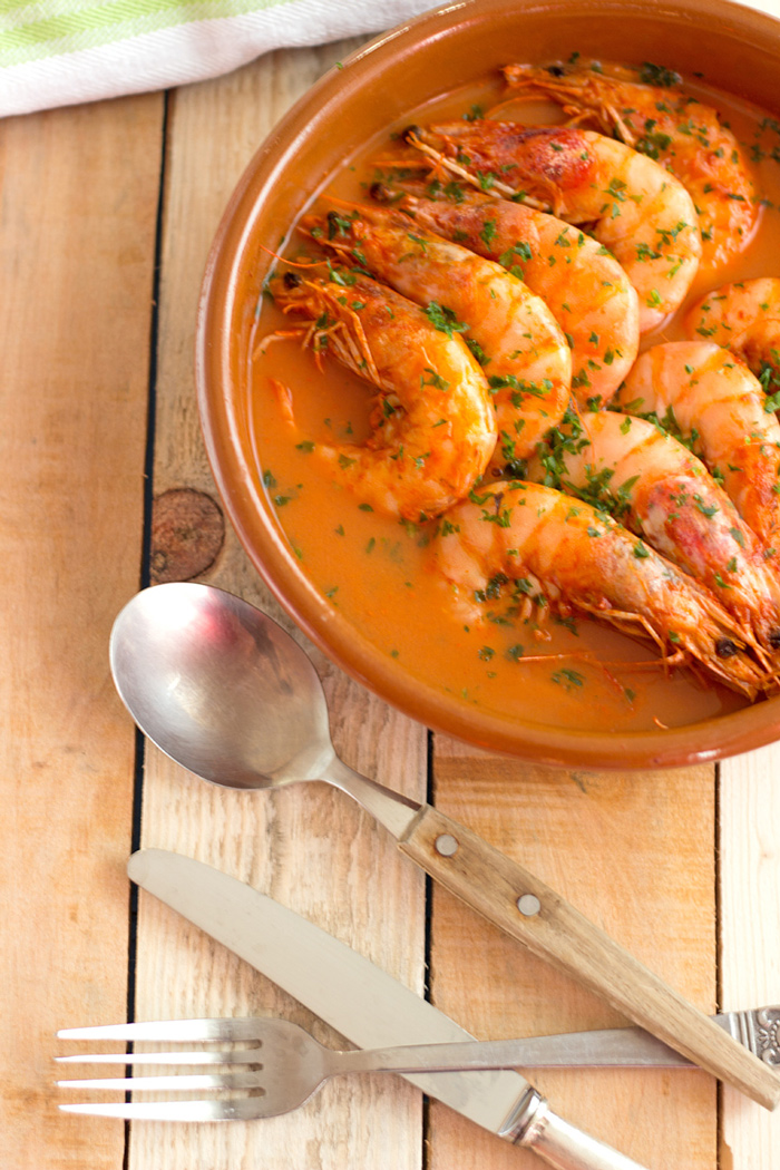 Prawns with garlic sauce