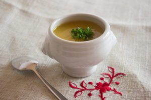 Squash and chestnut soup verrine