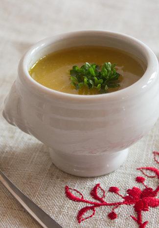 Squash and chestnut soup verrine