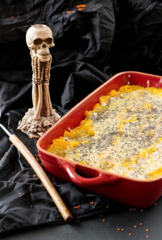 Pumpkin parmentier with turkey and mushrooms