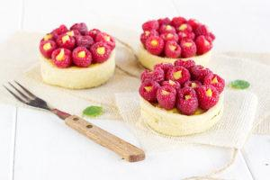 Raspberry olive oil tartlets with lime curd