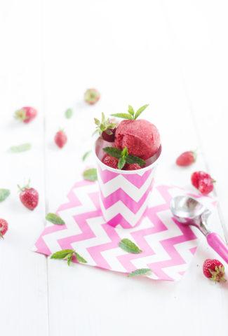 Sorbet fraise-menthe