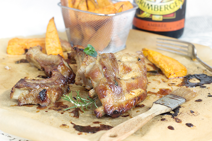 Spare ribs marinated with honey and Grimbergen amber beer