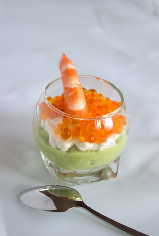 Verrine : Schrimp, avocado, salmon egg