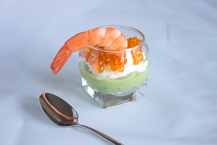 A Colourful Verrine: Schrimps, Avocado and Salmon Eggs