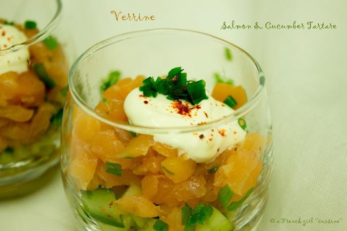 Verrine: Tartare de saumon et concombre